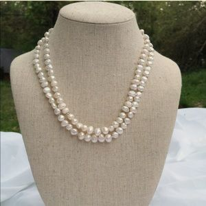 Jewelry - HP! Vintage Peyote sterling silver pearl necklace
